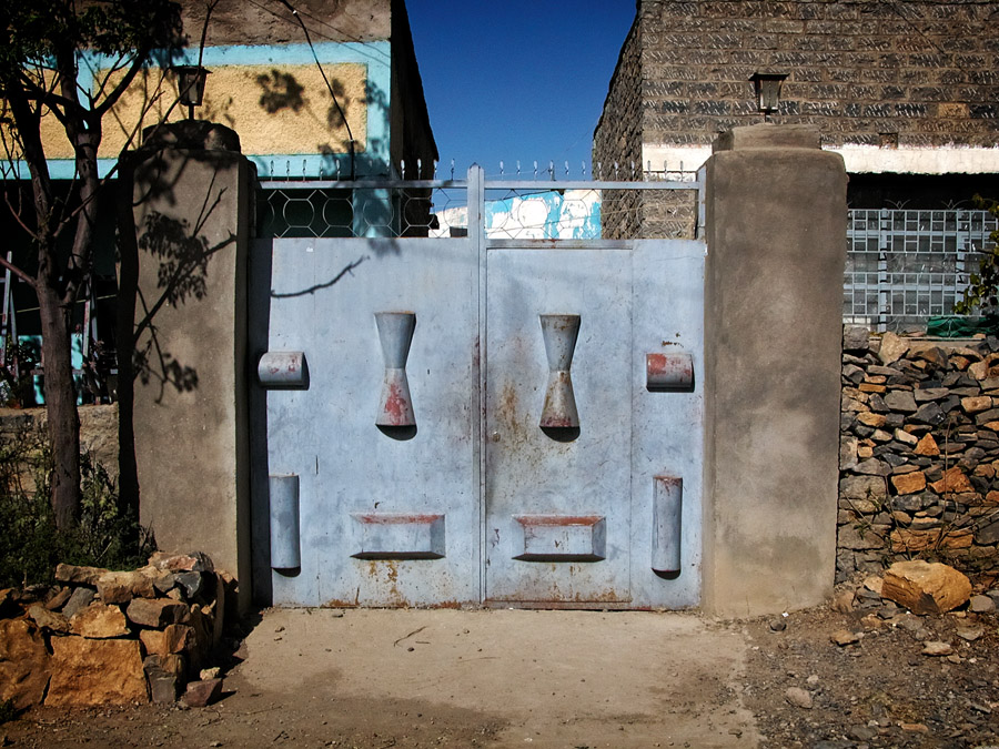 Gates of Mekelle #12 blue tone gate with geometric shapes